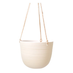 """Scribble Hanging Planter - A trio of 12"""" long strands of natural twine suspend a porcelain bowl of contrasting smooth and rough textures. Interior glazed in Bone."""
