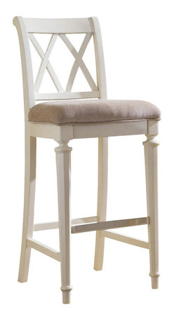 American Drew - American Drew Camden-Light Barstool Bar Height in White Painted - Barstool Bar Height in White Painted belongs to Camden-Light Collection by American Drew The Camden-Light Collection melds simple forms with quiet traditional references, gentle curves and a beautiful time worn ivory finish that lets the character of the wood show through. The brushed nickel finish hardware adds even more character to the Camden collection. This line will work great in your renovated farm house or a smaller beach cottage get-away. Barstool (1)