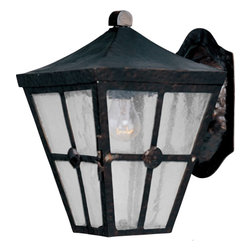 Maxim Lighting - Maxim Lighting Castille Outdoor Wall Mount Light Fixture in Country Forge - Shown in picture: Castille is a traditional - early American style collection from Maxim Lighting International in Country Forge finish with Seedy glass.