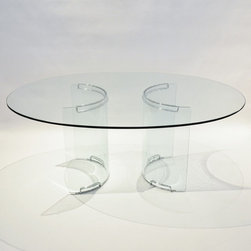 Three Piece Mid-Century Oval Glass Dining Table - Dimensions:L 71''  × W 51''  × H 28''