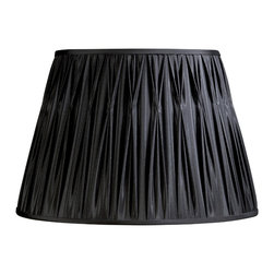 "Laura Ashley - Laura Ashley SFP013 Classic 13.5"" Black Faux Silk Pinched Pleat Shade - Laura Ashley SFP013 Classic 13.5"" Black Faux Silk Pinched Pleat Shade"