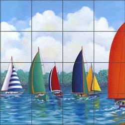 "Artwork On Tile - Harris Nautical Sailboats Ceramic Tile Mural 36"" x 24"" POV-HHA015 - * 36"" w x 24"" h x .25"" Ceramic Tile Mural on Architectural Grade, 6"" Tile w/Satin Finish"