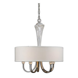 Uttermost - Grancona 5-Light Drum Shade Chandelier - Hanging an elegant chandelier above your dining table is the best way to add style to every meal. A crisp white linen drum shade pairs beautifully with glass and chrome details. You'll enjoy a warm glow of light each time you sit down to eat.