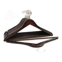 Florida Brands - Wood Suit Hangers Set of 48 - Mahogany - Suit Hangers: