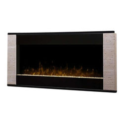 Dimplex - Dimplex Strata Wall Mount Electric Fireplace in Travertine - Dimplex - Electric Fireplaces - DWF1205TR - This daring and stylish design is not only contemporary but also relaxing and peaceful as it pairs high gloss black clean lines with elements of nature. The Strata will make a bold architectural statement in any room with the introduction of travertine-like end caps that perfectly frame the beautiful viewing area. The sparkling crushed glass ember bed is illuminated from below and the lifelike patented LED flame adds to the allure of this show stopping piece that will add ambiance to any room.