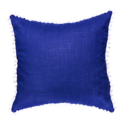 PillowFever - Linen Pillow Cover in Ultramarine with White PomPom Trim - Pillow insert is not included!