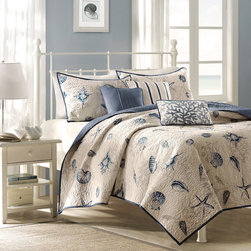 Madison Park - Madison Park Nantucket 6-piece Coverlet Set - The delicate coral motif of this eight-piece coverlet set provides an attractive addition to any bedroom. Crafted from 100 percent polyester and machine washable,this set makes a bright and stylish bedding choice for creating a cozier atmosphere.