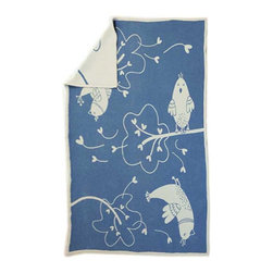 "Happy Blanket - Cotton Throw Blanket Blue Bird 57""X71"" - Made of 100% Cotton for a comfy feel. Dress your bed, or the foot of the bed. This comfy blanket is sure to become an accent on your favorite sofa or chair."
