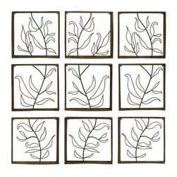 Vine Wall Decor Panels - Set of 9 - Set of nine complementary Iron Wall decor Panels featuring a cut out Vine Pattern