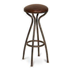 Celia Metal and Leather Stool - Bunched legs in a deep brown patina curve elegantly together in the Celia Stool, a leather-upholstered metal seat that looks refreshingly repurposed when poised before a desk and adds an architectural seating option to a dressing room or living space. The dark tobacco finish on the leather contributes to a sense of aged patina in this high-character transitional piece.