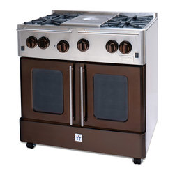 "BlueStar Range 36"" RNB364FTMS Precious Metals Collection French Top - Bluestar Range RNB364FTMS Precious Metals Collection 36"" Pro-Style Freestanding Gas Range with 88,000 Total Burner BTUs, 12"" French Top, Convection Cooking, Extra Large Oven Capacity and Continuous Grates."