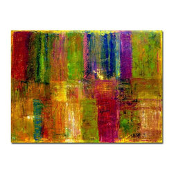 "Trademark Global - Color Panel Abstract Canvas Art by Michelle Calkins Multicolor - MC088-C3547GG - Shop for Framed Art and Posters from Hayneedle.com! About this art work: This piece is a giclee print of the artist's original work. The piece arrives on wrapped canvas with a luxurious 2-inch depth ready to hang. The Value of Giclee PrintsPronounced ""jee-clay "" this method is an advanced printmaking process for creating high quality fine art reproductions. The attainable quality that giclee printmaking affords makes the reproduction virtually indistinguishable from the original artwork. The result is wide acceptance of giclee prints by galleries museums and private collectors."