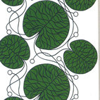 Bottna Green Fabric by Marimekko - This oversized and abstract botanical by Marimekko is like a lily pond that went through some sort of Scandinavian strainer. The lovely shade of green, the swirls and the imperfect circles all grab interest.