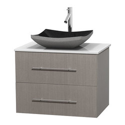 "Wyndham Collection - Centra 30"" Grey Oak Single Vanity, White Man-Made Stone Top, Black Granite Sink - Simplicity and elegance combine in the perfect lines of the Centra vanity by the Wyndham Collection. If cutting-edge contemporary design is your style then the Centra vanity is for you - modern, chic and built to last a lifetime. Available with green glass, pure white man-made stone, ivory marble or white carrera marble counters, with stunning vessel or undermount sink(s) and matching mirror(s). Featuring soft close door hinges, drawer glides, and meticulously finished with brushed chrome hardware. The attention to detail on this beautiful vanity is second to none."