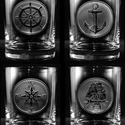 "Crystal Imagery, Inc. - Nautical Whiskey Scotch Glass Set, Sailboat, Anchor, Beach House Glasses - Engraved nautical theme whiskey, scotch, bourbon rocks glass set is a great gift for beach lovers, beach or coastal home or for your favorite sailor, captain of a boat, or fisherman. Deeply carved using our sand carving technique, each of our custom double old fashioned glass is meticulously custom made to order making it the perfect gift for those seeking unique gift ideas for beach lovers, vacation home owners - men and women alike. If you own a beach house and love coastal home decor, order several sets of these popular bar glasses and you will be ready to relax at the beach in style!  At 3.6"" high x 3.4"" wide, our whiskey glasses and scotch glasses hold 11 oz. Dishwasher safe. Made in the USA. SOLD AS A SET OF 4."