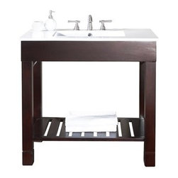 """Avanity - Avanity Loft 36"""" Single Modern Bathroom Vanity Set - Dark Walnut - The Avanity Loft 36"""" vanity is a sleek clean design that offers extra counter space in a dark walnut finish over Poplar solid wood and veneers. It features side stainless steel towel bars and a slat shelf across the bottom for storage. The vanity combo includes an integrated vitreous china top.Features37""""W x 22""""D x 35""""HPoplar solid wood and veneer in dark walnut finishStainless steel towel barsOpen slatted shelfIntergrated Vitreous China topIntergrated Vitreous China topTop pre-drilled for 8"""" widespread faucetAdjustable height levelers Faucet not includedHow to handle your counterSpec Sheet"""