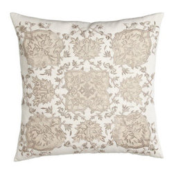"Callisto Home - Callisto Home Square Pillow with Cream Ground, 22""Sq. - Creamy bed linens from Callisto Home showcase a modernized Victorian-lace design created with embroidered appliques. Duvet covers and shams are made of linen. Taupe dust skirt with 20"" drop is rayon. Pillows are cotton with feather/down fill. Oblon..."