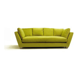 Blumen Sofa - Sit back or curl up against the arms — any which way you sit, there's a cushy pillow to rest your head upon. I laso love how the arms are angled out, which makes them more comfortable to lean against.