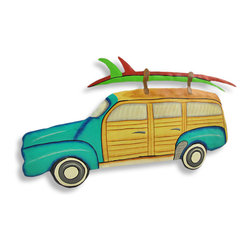 Colorful Surf Wagon Wall Hanging Woodie - This beautiful metal wall hanging features a teal `Woodie` style surf wagon. It measures 10 inches tall, 19 inches wide and about an inch thick. It`ll add a splash of color to any room, and makes a great gift for beach lovers. NOTE: These are hand-painted, one at a time, and there may be slight differences in color and pattern from the one pictured.