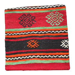 Turkish, Hand Woven - Striped Antique Kilim Pillow Cover - Bold colors adorn this beautiful Kilim pillow cover.  Traditional hand woven in colors of Reds, black, green, orange and white.  Fits beautifully in Southwestern décor, too!