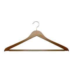 Proman - Genesis Flat Big And Tall Hangers, Walnut - Genesis flat big and tall hangers with anti slip PVC tube bar. Walnut Color with Chrome hardware. 50pcs/case. flat big and tall hangers. W / anti slip PVC tube bar Chrome hardware.