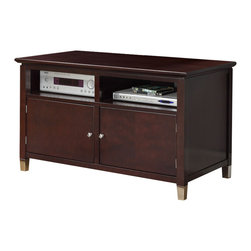 Adarn Inc - Deep Brown Sturdy Wood TV Stand Media Console, Without Media Shelf - Entertain friends and family with this contemporary designed TV stand. Featuring space to shelve all of your visual needs, its deep brown wood finish includes two shelves and a double door for added décor.