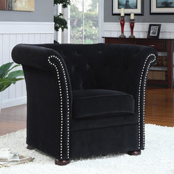 Coaster - Black Contemporary Accent Chair - The piece features a comfortable high back. Sleek track arms frame the chair, with a chrome nail head trim along the front for a unique accent against the bold black upholstery.