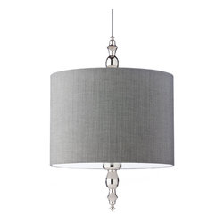 Marshall Pendant by Tech Lighting - Marshall Pendant features a herringbone fabric shade in Gray with Gunmetal or Polished Nickel finial design detail and black or gray cord.  Finish available in Black, Polished Nickel and White.  Includes two 75 watt 120 volt medium base A19 lamps or two 27 watt 120 volt GU24 self ballasted compact fluorescent lamps.  May also be lamped with two 100 watt or equivalent medium base A19 lamps not included.  19 inch diameter x27.9 inch high shade.  Fixture provided with six feet of field cuttable cloth cord.  ETL listed.