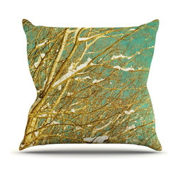 "Kess InHouse - Iris Lehnhardt ""Snow Covered Twigs"" Teal Brown Throw Pillow (Outdoor, 16"" x 16"") - Decorate your backyard, patio or even take it on a picnic with the Kess Inhouse outdoor throw pillow! Complete your backyard by adding unique artwork, patterns, illustrations and colors! Be the envy of your neighbors and friends with this long lasting outdoor artistic and innovative pillow. These pillows are printed on both sides for added pizzazz!"