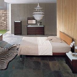 Exclusive Wood Luxury Bedroom Furniture - Captivating glass / solid wood designer metro bedroom set. Ultra Modern Design Wenge Wooden Finish with Brushed White Glass Bedroom Set.