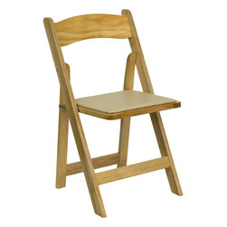 Flash Furniture - Flash Furniture Hercules Series Natural Wood Folding Chair w/ Vinyl Padded Seat - This Wood Folding Chair from Flash Furniture is the premier solution for banquets, weddings, graduations, and any other event where easy setup and easy breakdown is a must. This chair sets up quickly and stacks easily to be stored away until your next event. Constructed from choice hardwoods, painted and lacquered, and then topped with a comfortable vinyl upholstered seat, this wood folding chair will last for many events in years to come. [XF-2903-NAT-WOOD-GG]