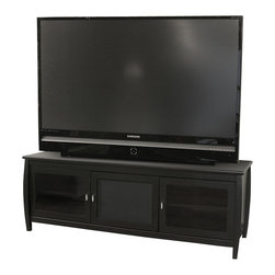 """Tech Craft - Tech-Craft Veneto 60"""" Black Wood LCD/Plasma TV Stand - Tech Craft - TV Stands - SWBL60. The Tech-Craft Credenza 60 Inch Wood TV Stand in Black features a flat back tone that will blend with almost any room setting. The glass doors hide your components easily and the Credenza 60 Inch TV Stand in Black provides ample storage and wire management."""