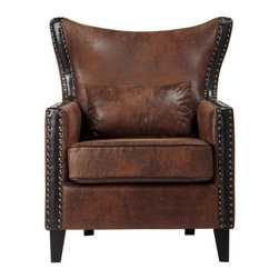 Home Decorators Collection - Meloni Armchair - Featuring a plush, flared wingback frame, wedge-shaped legs and stylish upholstery, our Meloni Armchair offers transitional style at an amazingly affordable price. Twin lines of nailheads run along the back, sides and front of this classic piece. Place this accent chair in your living room or home office to create a cozy, stylish spot. Includes matching pillow. Easy assembly; just attach legs. Complements transitional to modern home decor styles.