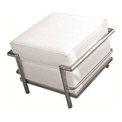 Fine Mod Imports - Cube Le Corbusier White Leather Ottoman - Features: