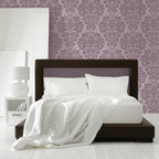 Fabric Damask Stencil - Fabric Damask Stencil from Royal Design Studio Stencils. This classic, hand painted wall pattern fits in with both traditional and modern spaces and can be used on walls, and  fabric in bedrooms, bathrooms and dining rooms.