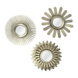 Threshold Starburst Mirrors, Set of 3 - These starburst mirrors aren't 3-D spheres like true urchins, but their metal spines definitely make me think of those spiky echinoderms under the sea. I would hang these within a gallery arrangement or around a flat-screen TV.