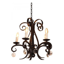 ParrotUncle - 5 Lights Black Iron Base Traditional Dining Room Chandelier - 5 Lights Black Iron Base Traditional Dining Room Chandelier