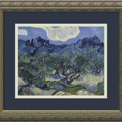 Amanti Art - Olive Trees With the Alpilles in the Background, Saint-Remy 1889 Framed Print - If you want drama, add a Van Gogh to your walls. With strong, fluid brushstrokes and vivid details, this olive grove masterpiece exudes passion. The gallery-quality reproduction comes custom framed in an embossed antique silver wood.