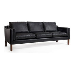 2213 Borge Mogensen Style Sofa in Modena Black Leather - Borge Mogensen meticulously crafted all of his work with functionality in mind. These powerful shapes remain classic pieces of modern Danish furnishing. The Rove Concepts 2213 Borge Mogensen Sofa is no different. It's clean shape and strong lines perfectly reflect the straightforward approach that characteristizes the mid-century period. The almost-scientific approach is evident in the subtle geometric forms made by the cushions and hardwood box frame. Not only practical, it is also incredibly comfortable. Genuine duck down feathers are layered on top of multidensity foam to create an incredibly comfortable seat. Customizable in both wood and 100% Italian aniline leather, the 2213 Borge Mogensen Sofa serve you for years to come.