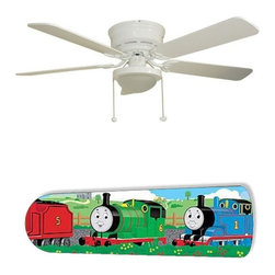 "Thomas the Train 52"" Ceiling Fan with Lamp - This is a brand new 52-inch 5-blade ceiling fan with a dome light kit and designer blades and will be shipped in original box. It is white with a flushmount design and is adjustable for downrods if needed. This fan features 3-speed reversible airflow for energy efficiency all year long. Comes with Light kit and complete installation/assembly instructions. The blades are easy to clean using a damp-not wet cloth. The design is on one side only/opposite side is bleached oak. Made using environmentally friendly, non-toxic products. This is not a licensed product, but is made with fully licensed products. Note: Fan comes with custom blades only."