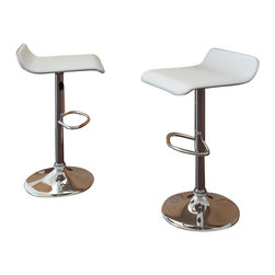 Sonax - Sonax CorLiving Curved  Bar Stool in White Leatherette (Set of 2) - Sonax - Bar Stools - B812VPD - Style your home with this inviting and durable Bar Stool set from our new CorLiving™ Collection. This pair of White leatherette chairs are the perfect way to relax indoors. Height adjustable and easy to wipe clean the tough PVC leatherette seat is highlighted with a sturdy chromed gas lift and base. Simple stitched edges on the seat complete the contemporary design. A great way to maximize your kitchen or living space!
