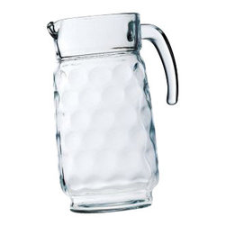Home Essentials - Eclipse Glass Pitcher - The Eclipse Bubble Glass Pitcher was designed with both purpose and pizzazz in mind! Fill with your favorite Vodka, smoothie, wine, or iced tea, and enjoy the handle for graceful serving service. * Capacity: 64 oz.