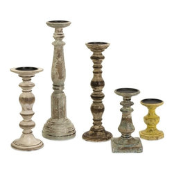 """IMAX CORPORATION - Kanan Wood Candleholders In Distressed Finishes - Set of 5 - Display of 6 wooden candleholders, each with a unique distressed finish and varied in color. Set of 5 in various sizes measuring around 20.5""""L x 6.5""""W x 16.25""""H each. Shop home furnishings, decor, and accessories from Posh Urban Furnishings. Beautiful, stylish furniture and decor that will brighten your home instantly. Shop modern, traditional, vintage, and world designs."""