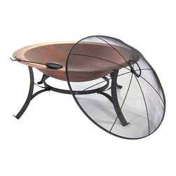 """Sunnydaze Decor - Cast Iron Bowl Fire Pit with Copper Finish - 30.5"""" overall diameter and 17"""" high"""