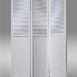 Asia Direct Home - 3-Panel Room Divider in White Finish - Wooden frame. Folds easily for storage. Made in Vietnam. Thickness: 1 in.. Overall: 48 in. W x 70 in. H