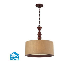 """ELK Lighting - ELK Lighting 14141/3 HGTV Home Nathan 20"""" Three-Light Chain-Hung Wooden Drum Pen - This pendant collection combines rich wood tones with stylish fabrics for an alluring appearance. Each drum shade has a realistic wood printed band that is recessed into the bottom of the fabric shade and tapers into a frosted glass diffuser. A turned wood center column supports one style while the other pendant has the versatility of extension rods to convert to a semi flush. Choose from dark walnut with a wheat linen or foliage patterned fabric and washed pine with a gray or slate linen fabric.Features:"""