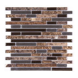 Stone & Co - Stone & Co Mosaic Glass and Stone blend Random Strip 12 x 12 Mosaic Tile 4437 - Finish: Polished / Shiny / Matt