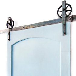White Shanty - Industrial Spoke European Slide Door Hardware, Distressed White, 10ft, 2 Roller - This is a beautiful 5-10ft vintage steel sliding barn door hardware. Made in the USA from high quality steel. ( Lifetime Warranty )