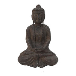 Golden Lotus - Chinese Hand Carved Sitting Sakyamuni Stone Buddha Statue - This sitting sakyamuni Buddha statue is made of solid stone and hand carved in a round.