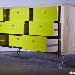 Proper Dresser - Solid poplar Dresser, Lime Green Fronts, Dove tail Drawers, Stainless Steel Hair Pin Legs